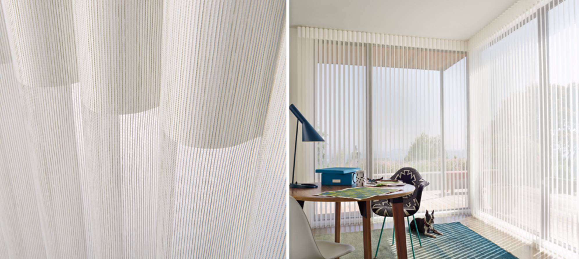 Luminette - Similar to draperies, our Luminette® vertical sheers are ideal for larger windows and sliding glass doors. 180-Degree rotating fabric vanes put you in control of your natural light and privacy.