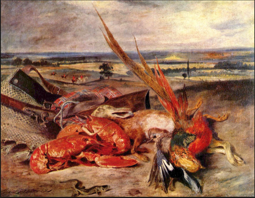 Not one of Delacroix's more famous pieces, or even one of his best, but has always had a kind of wild charm. A series of objects more suited to Chardin than the Romantics, but instead of chiaroscuro, painted in plein aire light.