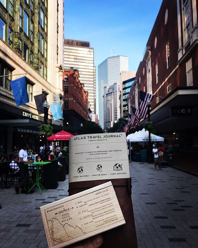 Thank you @downtownbostonbid for having us at your market today as well as those who stopped to take a moment to learn about company. And, as always, a special thanks and welcome to all of our new Atlas Travelers as we can't wait to buy all of you that #firstroundonus !  Cheers,  Matt  #tributeproducts #atlasproject #breathe #neverstopexploring #boston