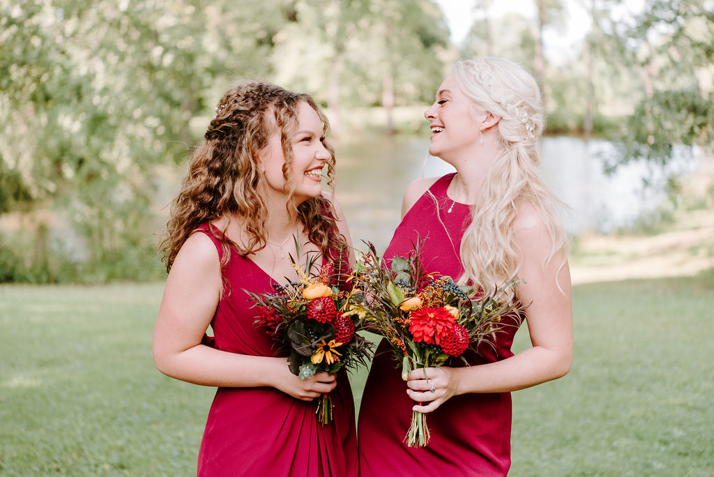 bridesmaids dresses burgundy