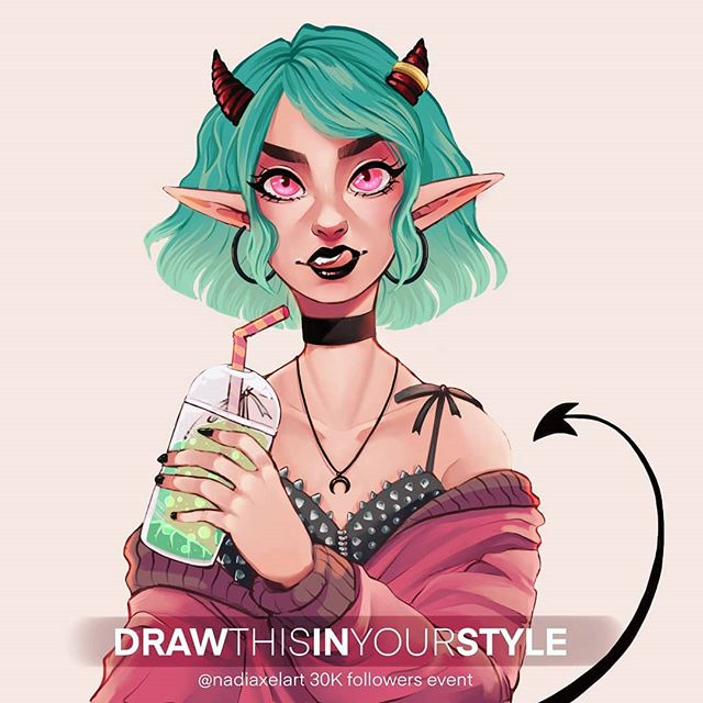 ✨ THANK YOU FOR 30K FOLLOWERS ✨ This is my new #DRAWTHISINYOURSTYLE challenge! 🎉 If you swipe, you can see all the rules and deadline info for the challenge C: It runs for 18 days from I post this ♥️ - ⭐ FOLLOWER SHOUTOUT 📢 Like and Comment for a chance to get a story shoutout! I will feature 2 followers' art  in approx. 24 hours ♡ - 🌠 ABOUT THE CHALLENGE: • Redraw this in your own style • Use the hashtag #nadiaxel30k • If you have a private profile, you can PM me the entry. • I will feature as many of the entries as possible on my stories. I'll limit the no. of features per day to avoid spamming you and everyone gets a fair chance not to drown in the crowd. • I will feature entries until September 15th • On September 16th I will post 4 challenge winners permanently to my gallery • Please swipe and read all the info in the images (^-^) • Story shares are highly appreciated ❤️ _______________________________  #comicart #cartoonartist #artstyle #drawingstyle #digitalart #digitaldrawing #illustrator  #digitalpainting #tegning  #characterdesign #drawthisinyourstylechallenge #demongirl #fantasyart #casualdemon #devilgirl #artchallenge #drawingchallenge
