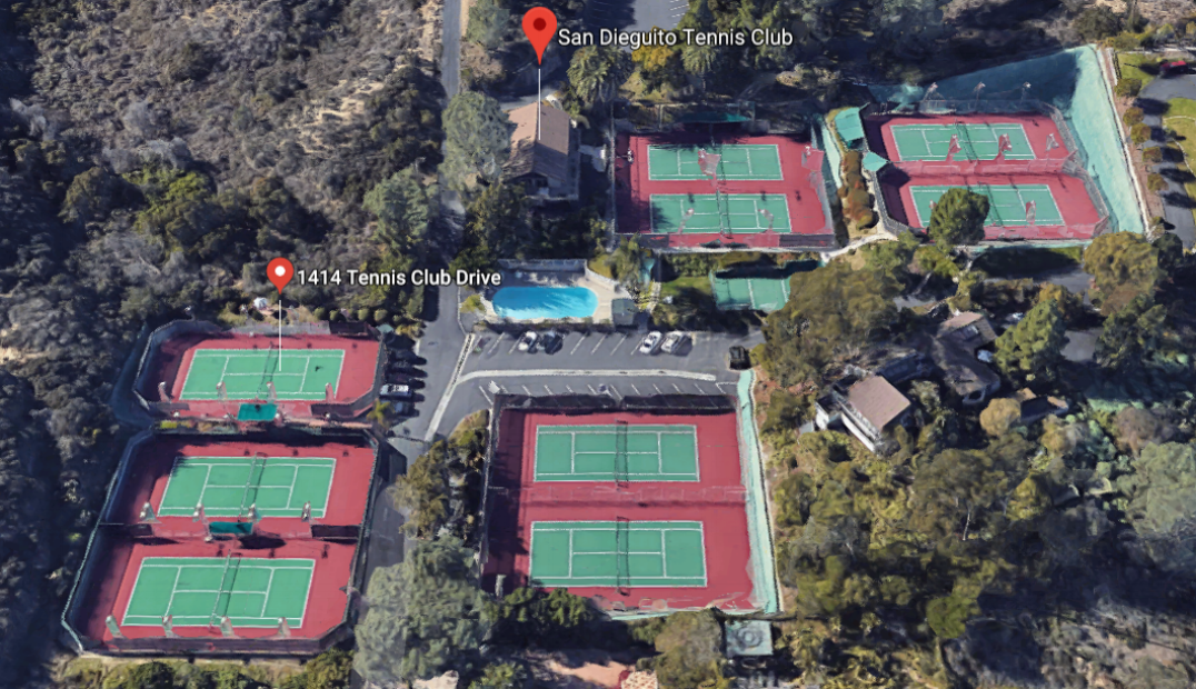 The Club - Tucked away in a beautiful five-acre terraced hillside, the San Dieguito Tennis Club provides a warm community atmosphere with nine courts, a large clubhouse facility, pro shop, pickleball court, ample parking, and a heated swimming pool.