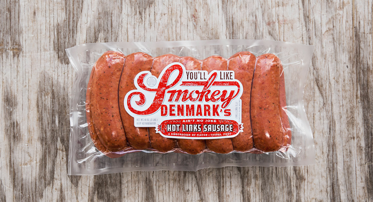 """Hot Links Sausage  They ain't no joke. A spicy firecracker of flavor. Nicknamed """"Smokey D's."""" Three pounder!"""