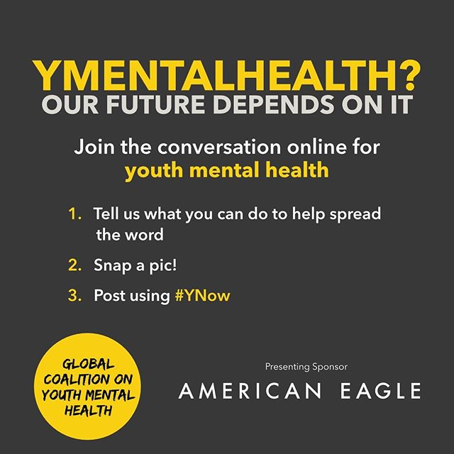 Join the conversation and tell us #ynow is the time to prioritize youth #mentalhealth! Take a photo and share your story using #YNow — don't forget to tag us here at the Coalition & @americaneagle!