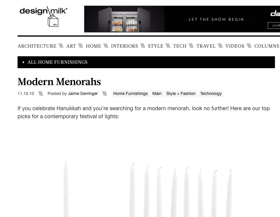Design Milk Modern menorahs