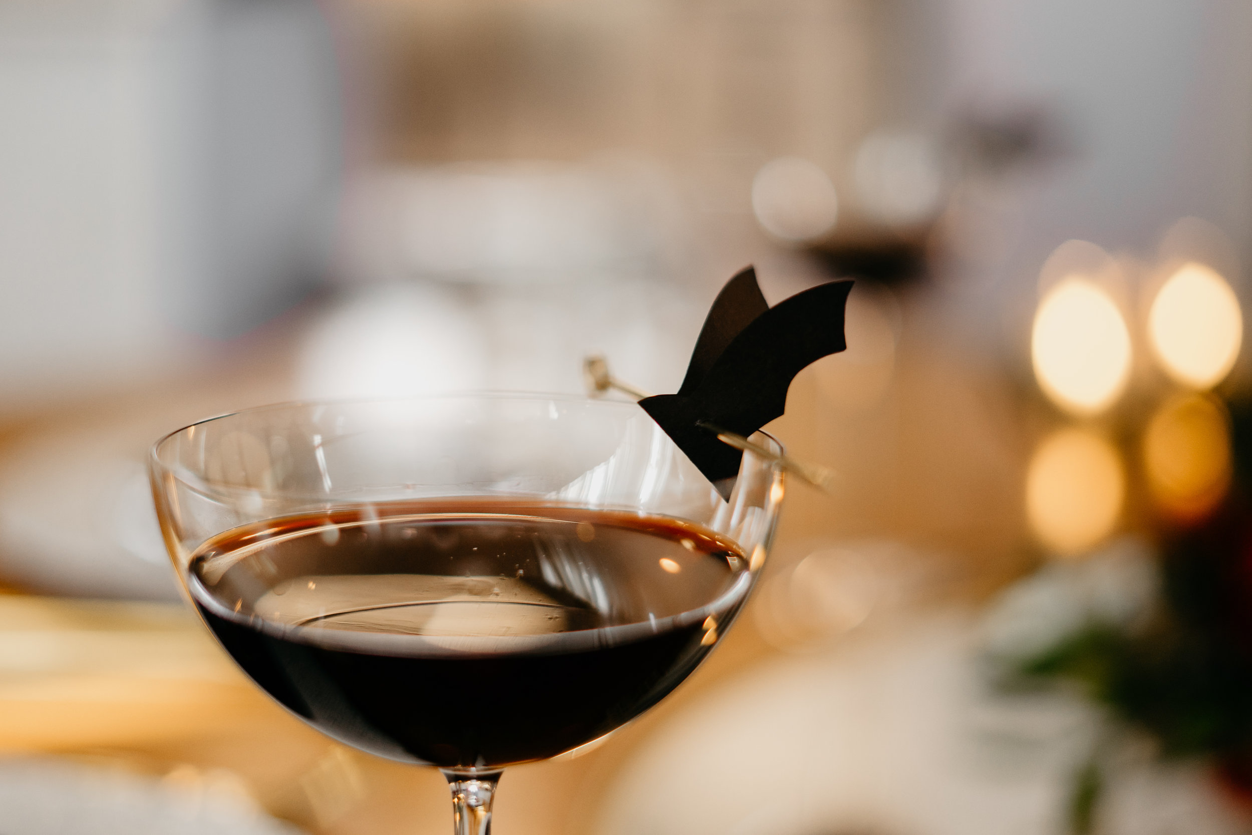 Up All Night - 1 oz. Coffee (or cold brew)1 oz. Red Wine1/2 oz. Vodka1/2 oz. Simple SyrupOptional: a few dashes of Sip Strongwater Amores - just to add a little more depth and character.Garnish: a sweet chocolate to eat or a paper bat!Chill coffee to room temperature. Mix all ingredients, pour into fun coupes or your favorite cocktail glass, and garnish. Easy peasy.