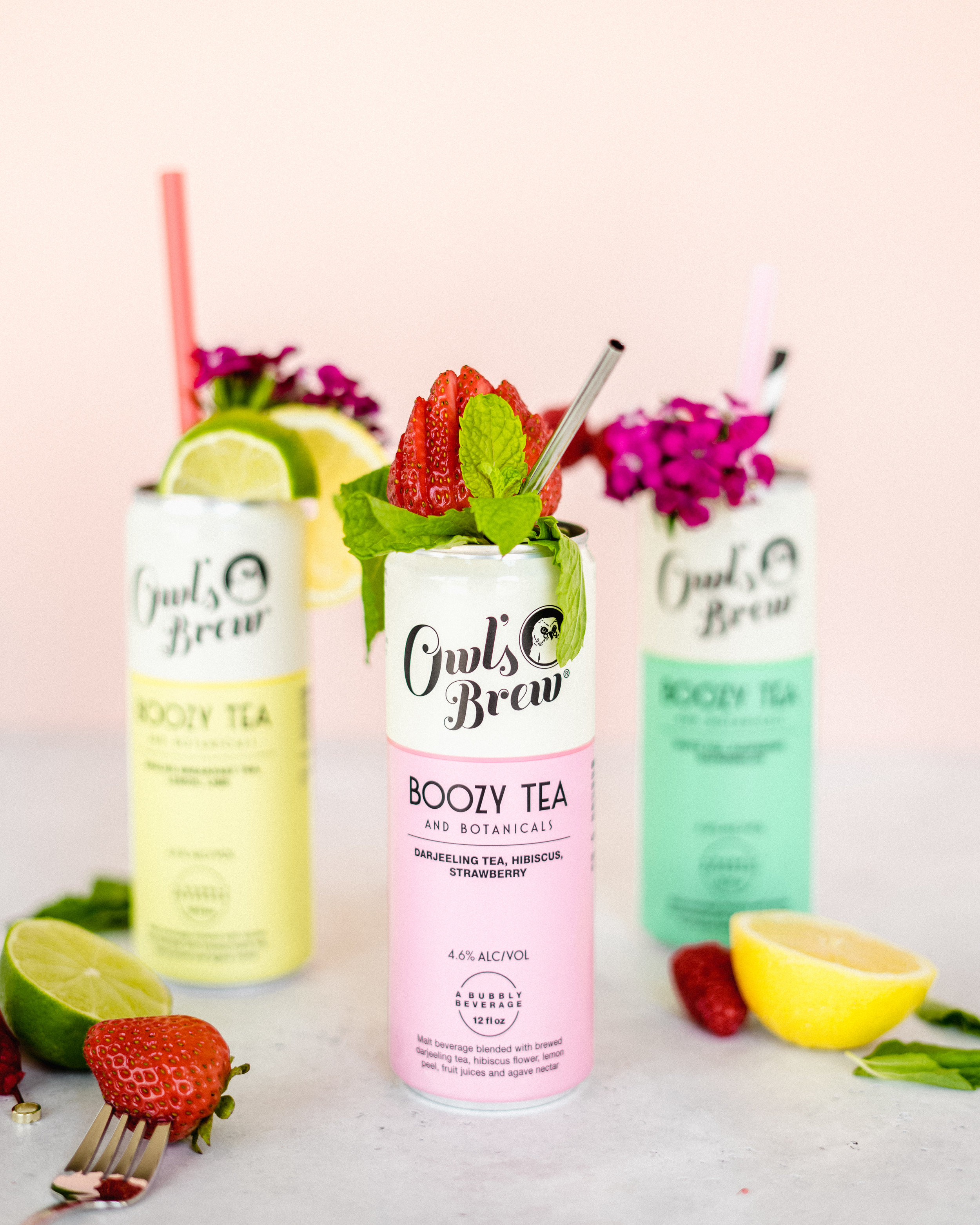 Pink Boozy Canned Tea Cocktail - The Owl's Brew