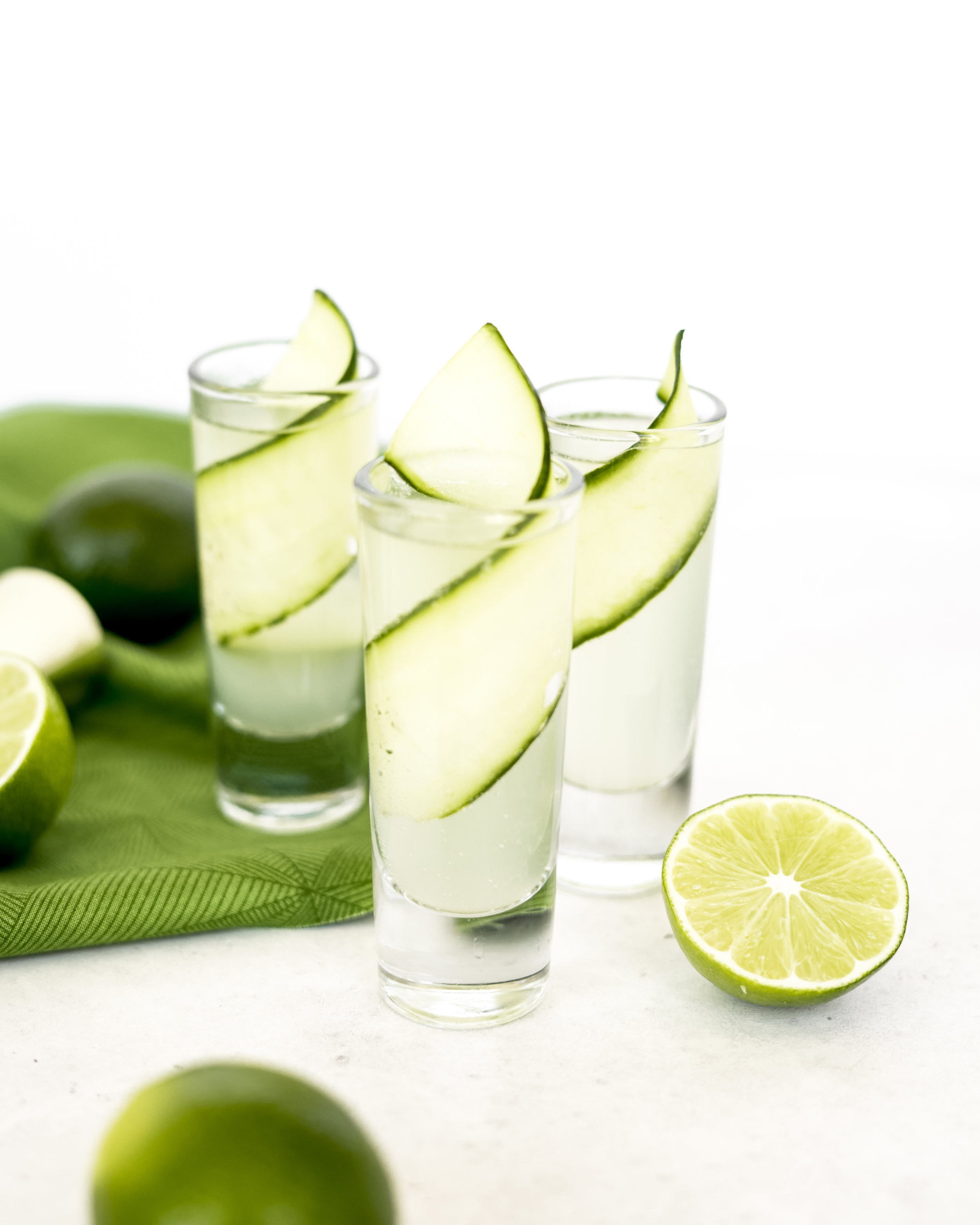Cucumber Gin Shots - 1 oz Fid Street Gin.75 oz Fiorente ElderflowerBarspoon Lime JuiceSplash SodaGarnish: cucumber slicesInstructions: Muddle 2 cucumber wheels (per shot) in a shaker tin. Add all other ingredients (except the soda). Shake all ingredients hard for 4 seconds. Fine Strain into a shot glass. Splash soda over the top.