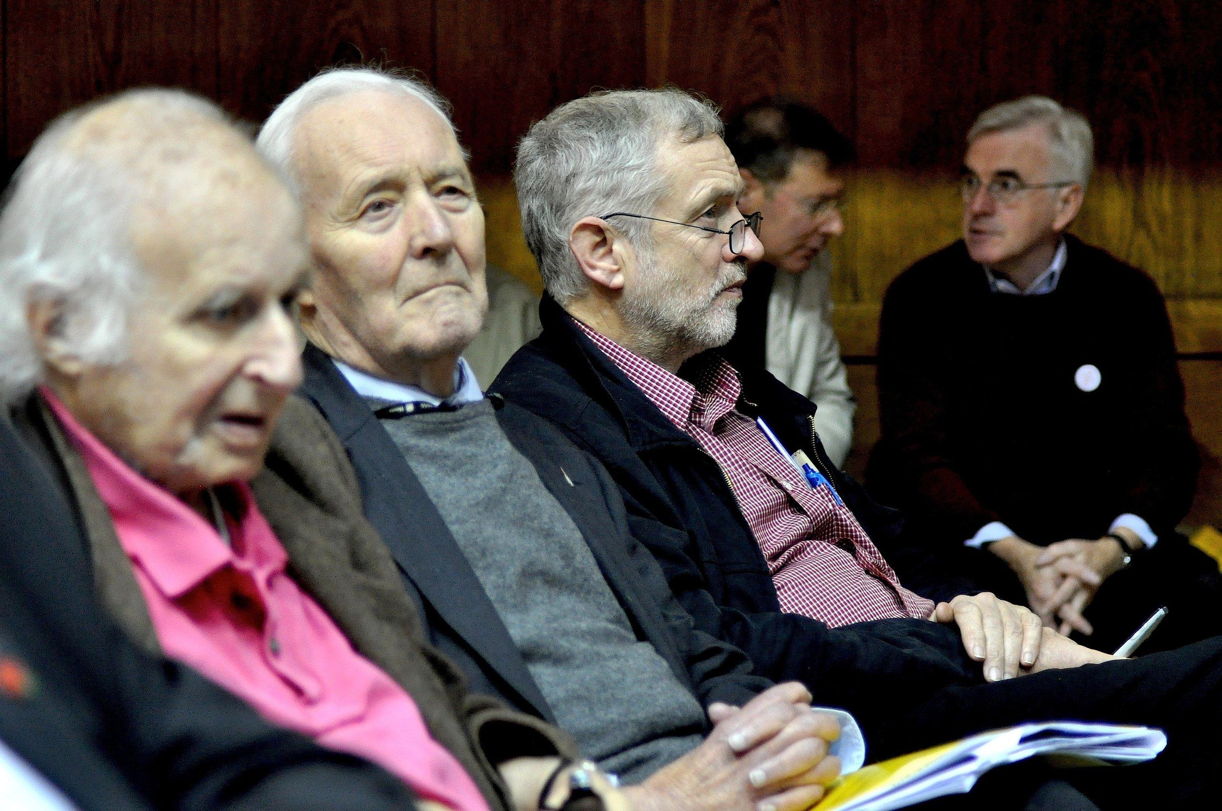 Walter Wolfgang (left), Tony Benn and Jeremy Corbyn (photo: Louise Whittle)