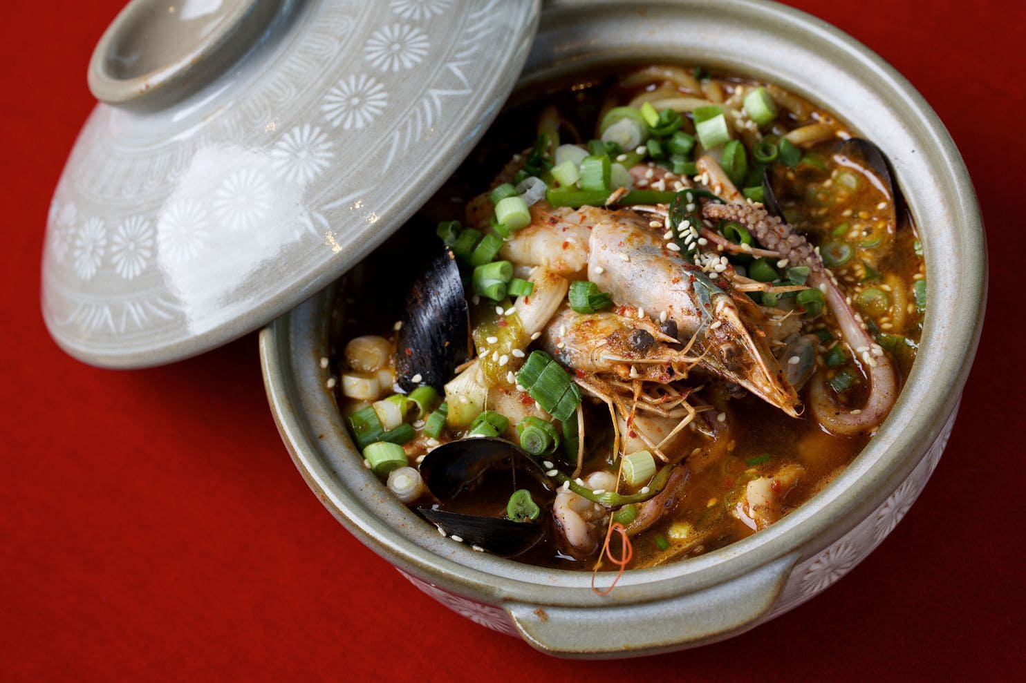"""""""Jjampong, a Korean seafood and egg noodle dish, is on the top portion of the three-part menu at Kaliwa. (Deb Lindsey/For The Washington Post)"""