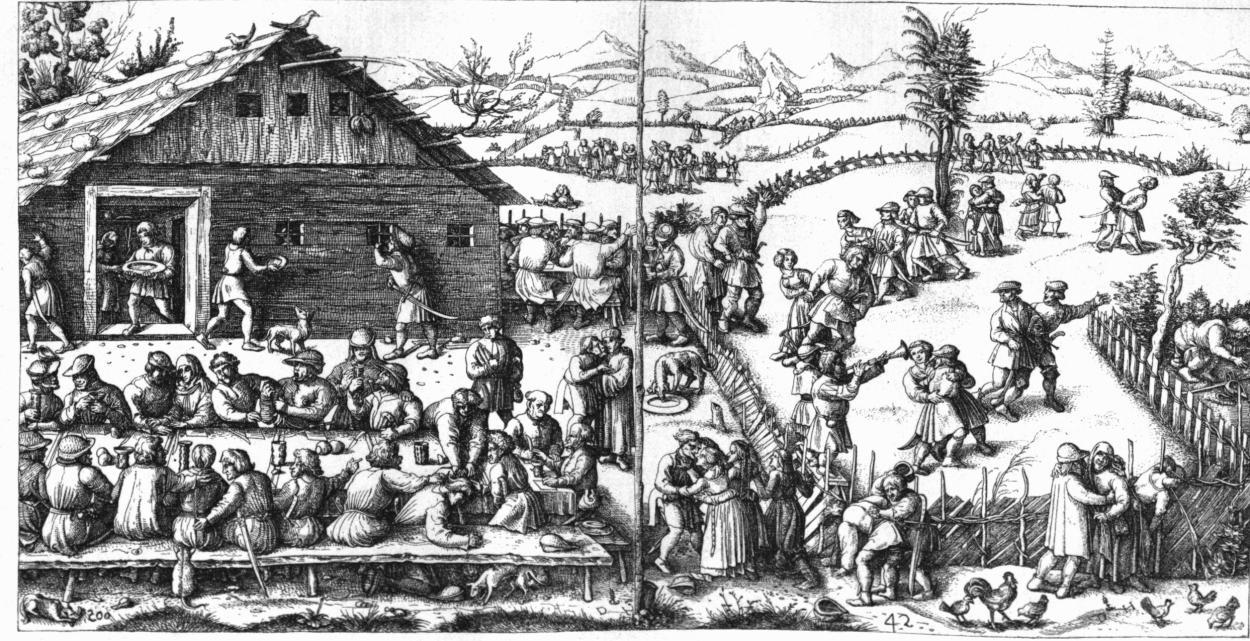 Rural Festival   . Engraving by Daniel Hopfer. 16th century.