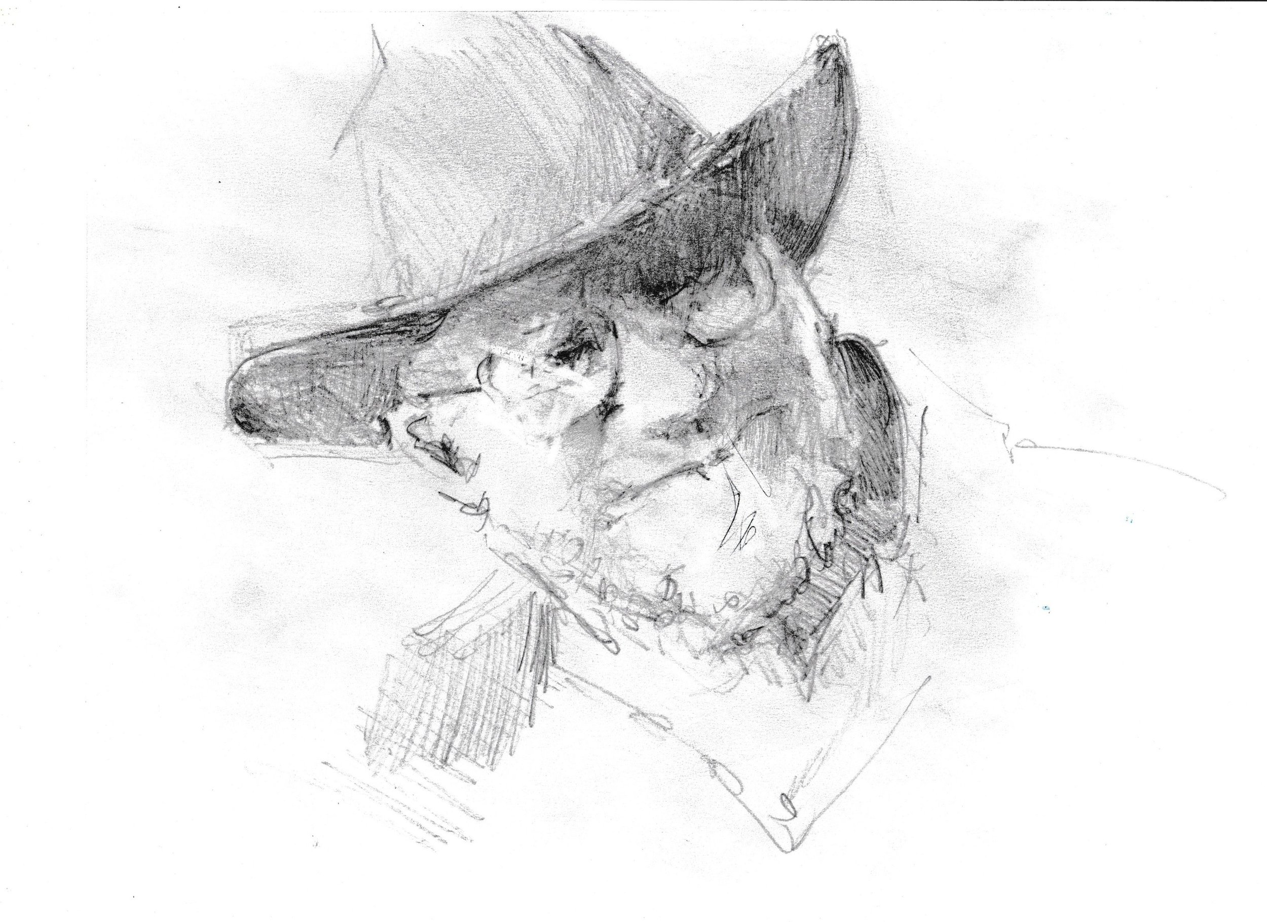 Sketch of Harrison Groutage by Rett Ashby