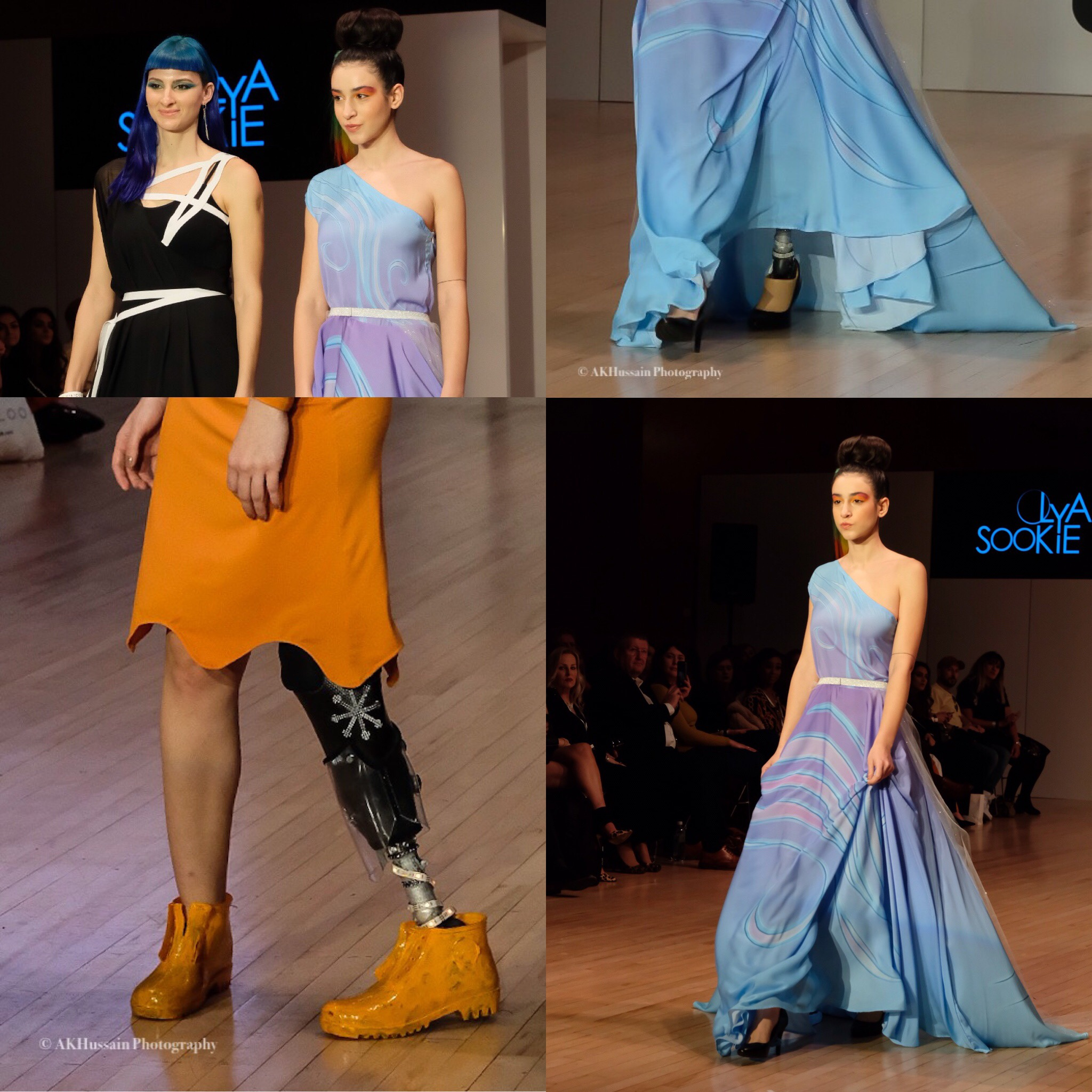 OLYA SOOKIE - Croatia - Lovely to see this designer again and so glad that the show promoted Ability not Disability with their model Chiara Bordi - more of this please!Bottom left is Kepanza rest are Olya Sookie