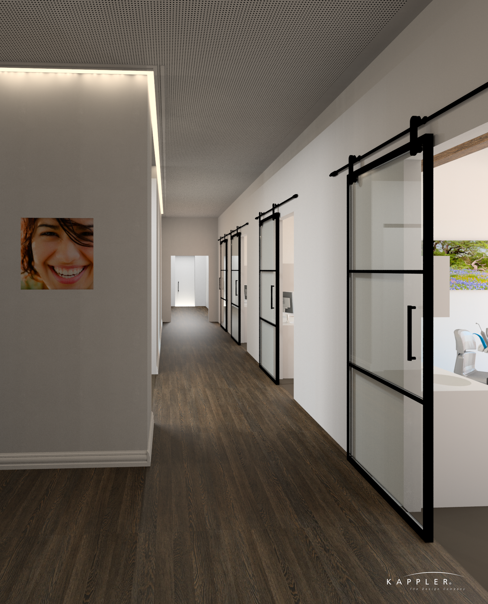 traditional dental office design with hardwood floors