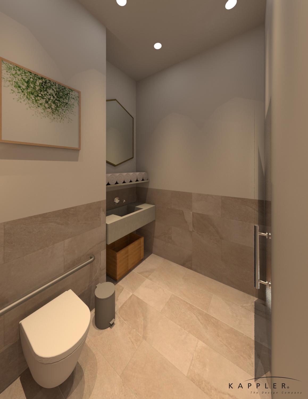 modern Mediterranean office bathroom design