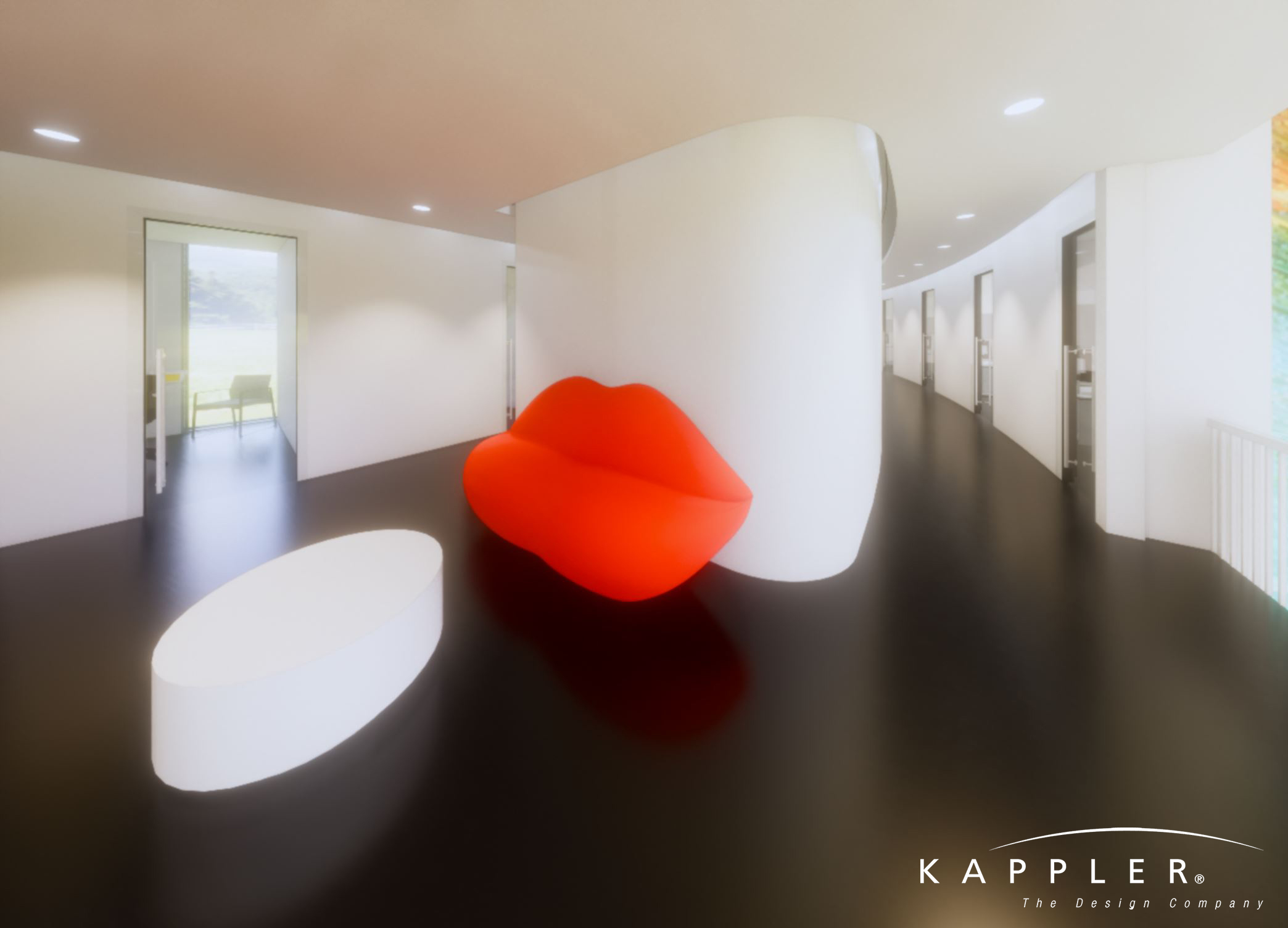 minimalist dental office hallway with bright red lip-shaped couch