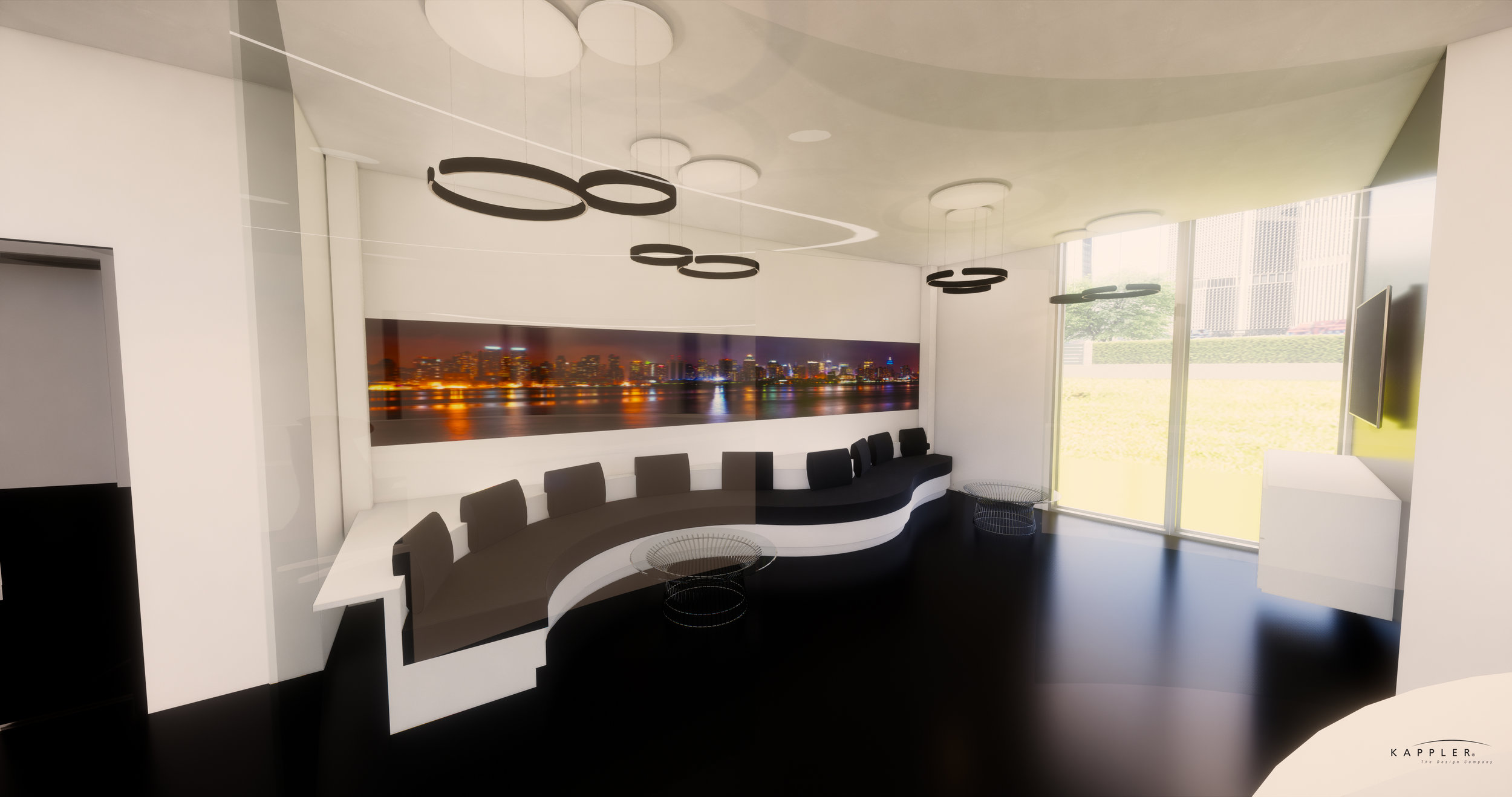 minimalist dental office waiting room with New York City skyline on the wall and polished black flooring