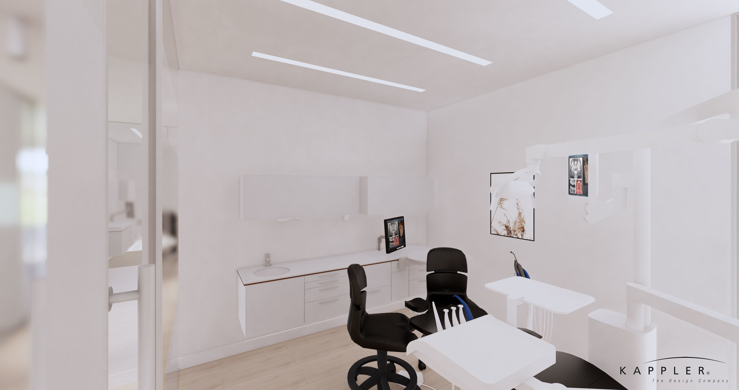clean white dental operating room design with black accent chairs