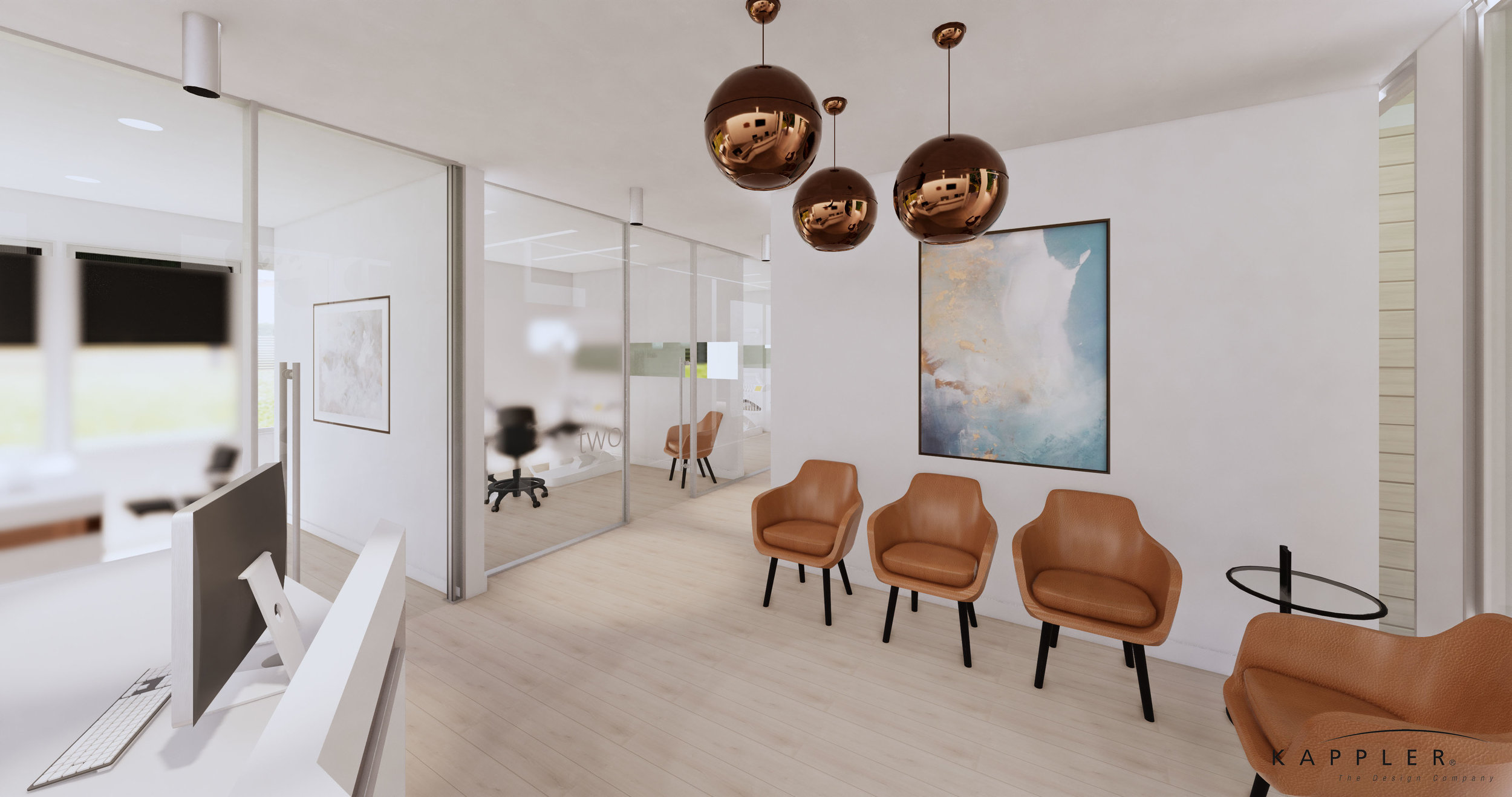 nordic style dental office reception area