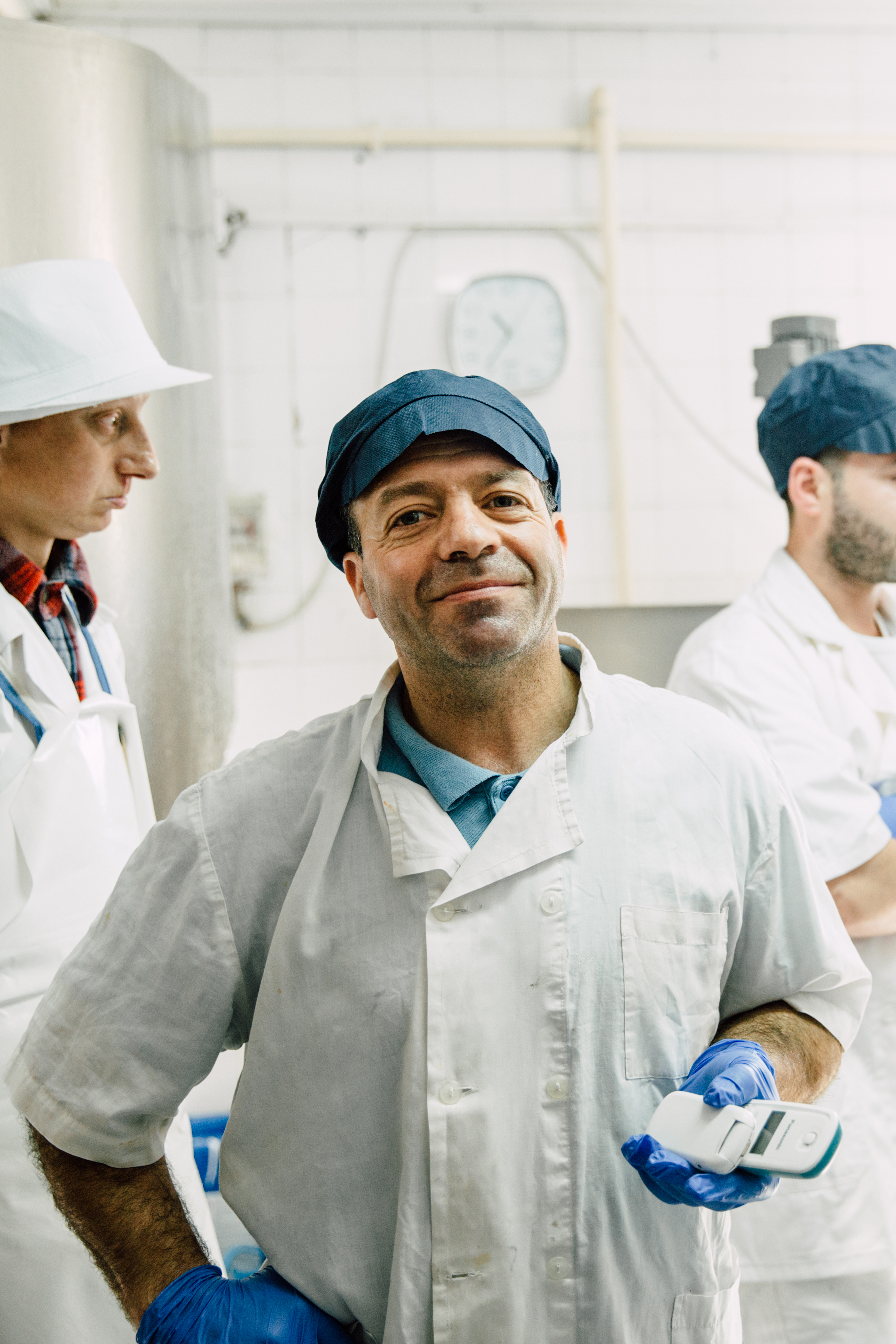 M. Tastanis and his amazing Feta - Panagiotis Tastanis, pictured, is the second of three generations behind Essex Feta. His nephew, Demitri, pictured in many of the make images above, works alongside him in the creamery every day. They make traditional brine-bathed feta, using just sheep's milk from the hills nearby and sea salt from the four hundred year old salt pans at Kalloni.