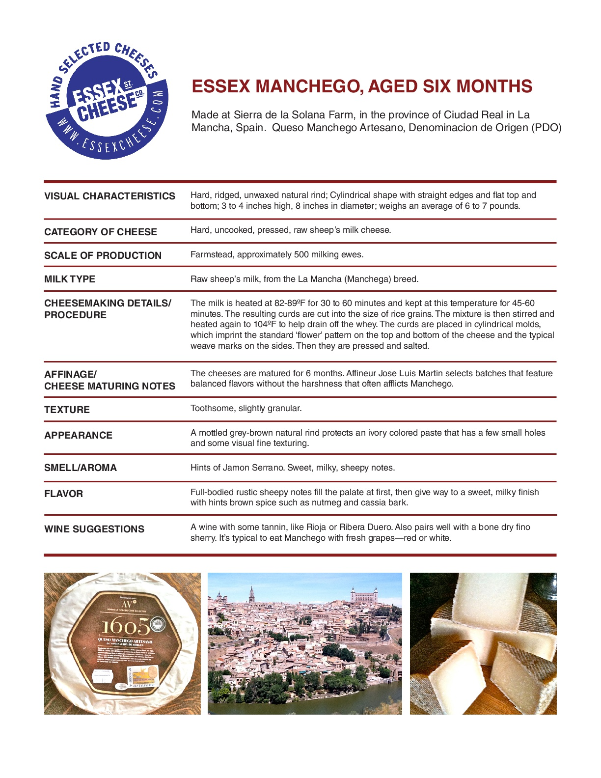 Essex Manchego Specifications - Our raw milk, unwaxed, farmhouse Manchego specs. 8.5 x 11 inch PDF to download and print for training and reference.