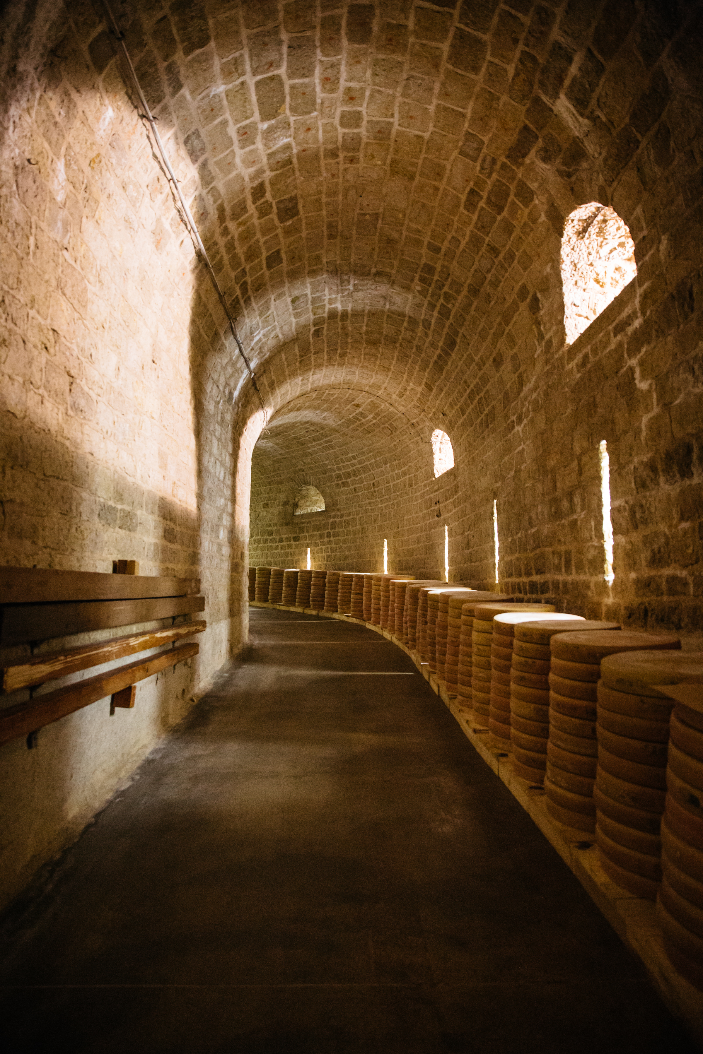 Fort St. Antoine - Marcel Petite's Fort St. Antonie is renowned as the aging vault for much of France's best Comté. It's a temple of cheese, an underground fort housing over a hundred thousand wheels of cheese. We're not the only importer sourcing Comté from this location. But no other importer comes to taste at all, let alone ten times per year. No other importer gets cheeses that are as consistent, as balanced, and as deeply flavored.
