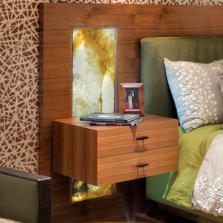 Back-lit Walnut & Onyx Nightstand