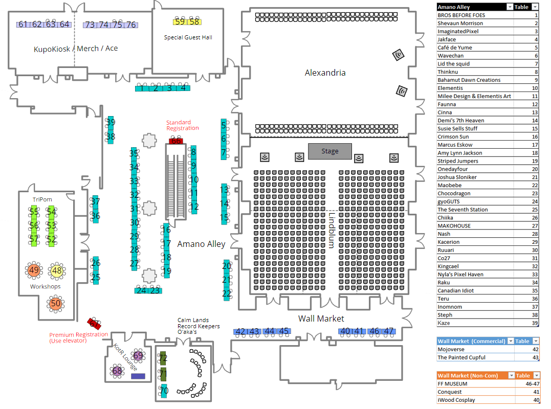 floor plan and exhibitor list for Pomtario 2017, subject to change susie sells stuff - Amano Alley (Table 15)