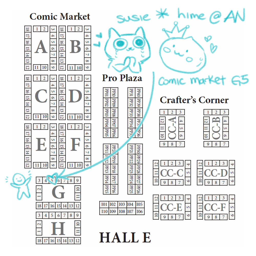 seating map for Anime North 2018, subject to change susie*hime - Comic Market G05