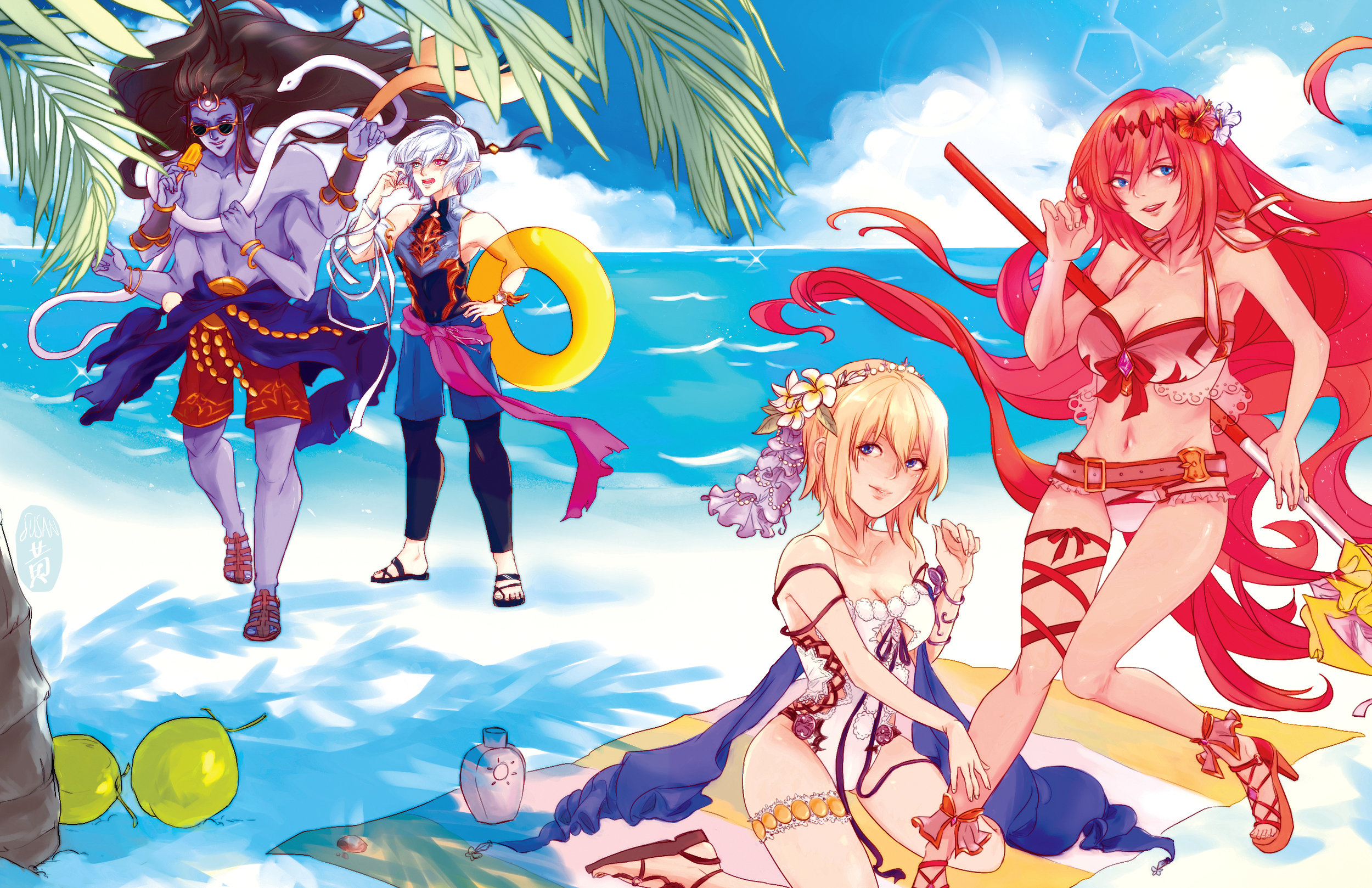 Illustration and original outfit designs for the   Gbf Summer Zine   : a  fun in the sun zine dedicated to GranBlue Fantasy's summer outfit designs.  process gif:  https://twitter.com/aegisunmerge/status/1100250185899360257    bonus design notes for europa and alexiel:  https://twitter.com/aegisunmerge/status/1100252668004655104