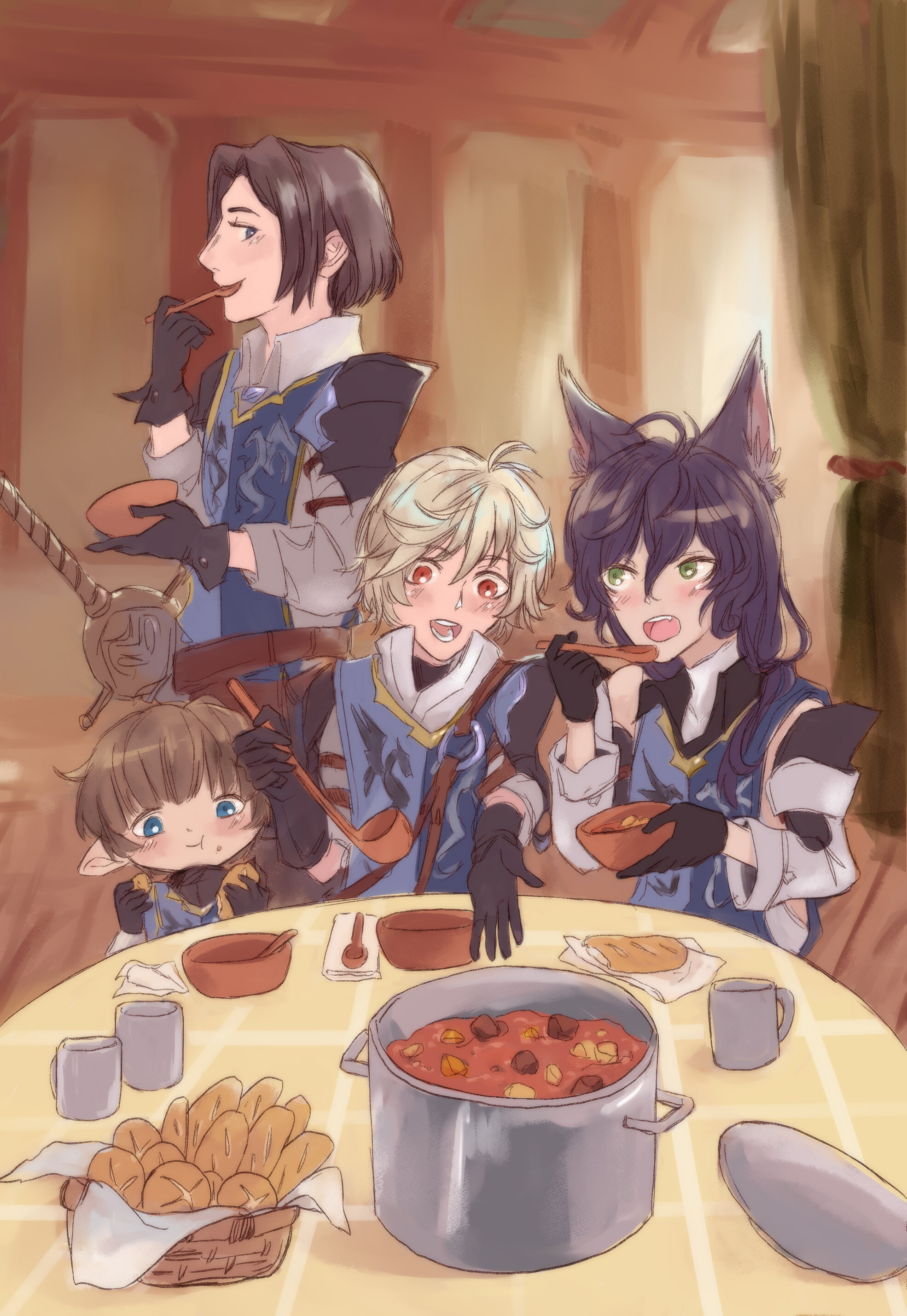 beef stew   illustration for THE CREW'S KITCHEN: VOL 1 - a non-profit charity cookbook fanzine project dedicated to Granblue Fantasy.  twitter @  thecrewskitchen  zine info @  https://thecrewskitchen.carrd.co/