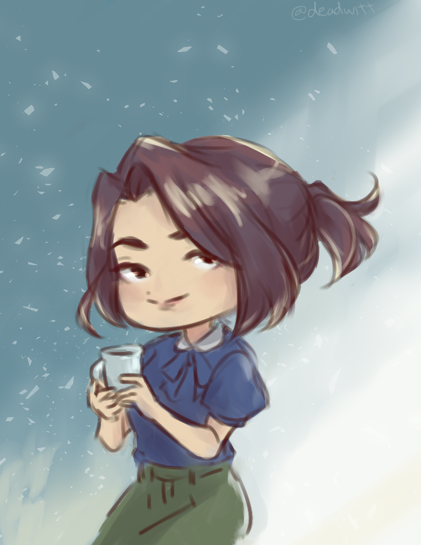 self-portrait (2018)   quick sketch, chibi style.