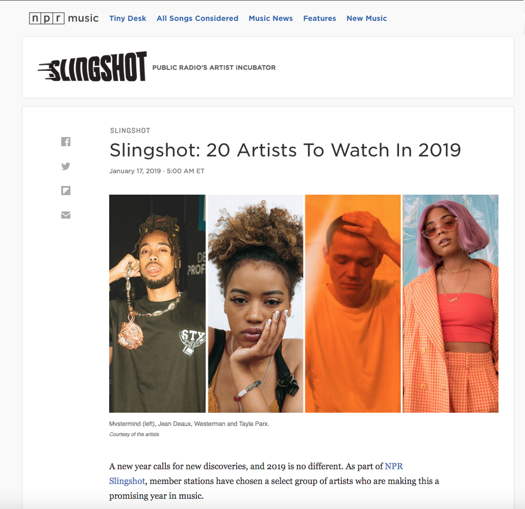 NPR names Katie Pruitt a Slingshot Artist to Watch in 2019. Click to read the full article.