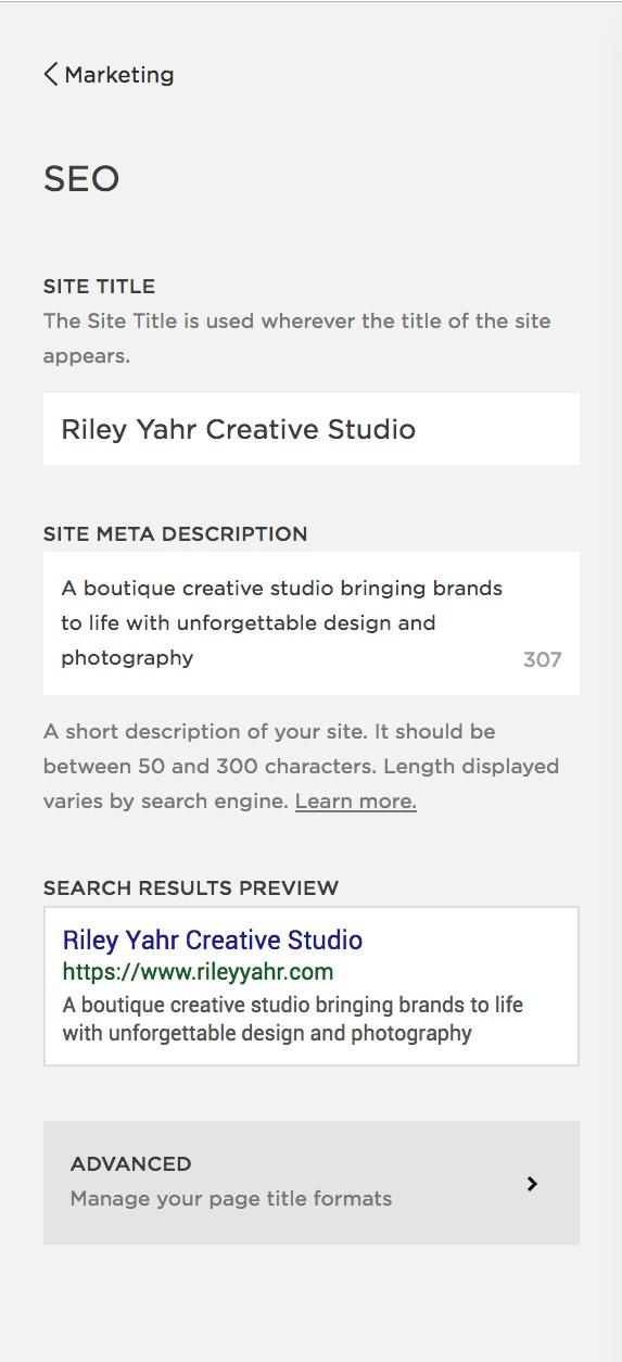 Riley Yahr Creative Studio | Squarespace SEO
