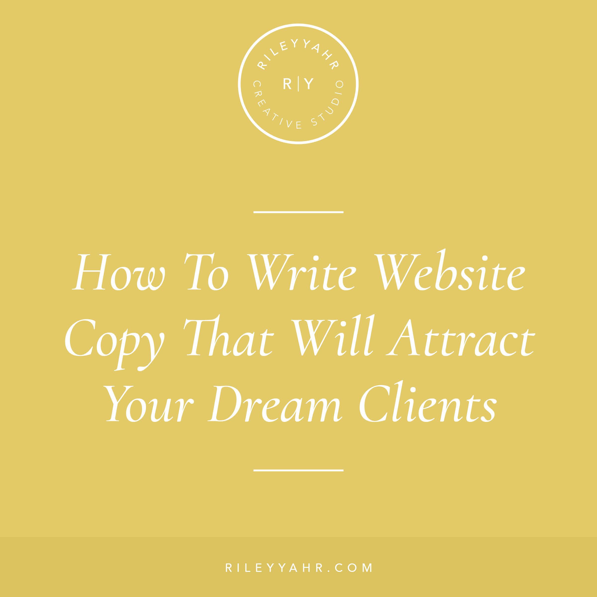Riley Yahr Creative Studio - Website Copy