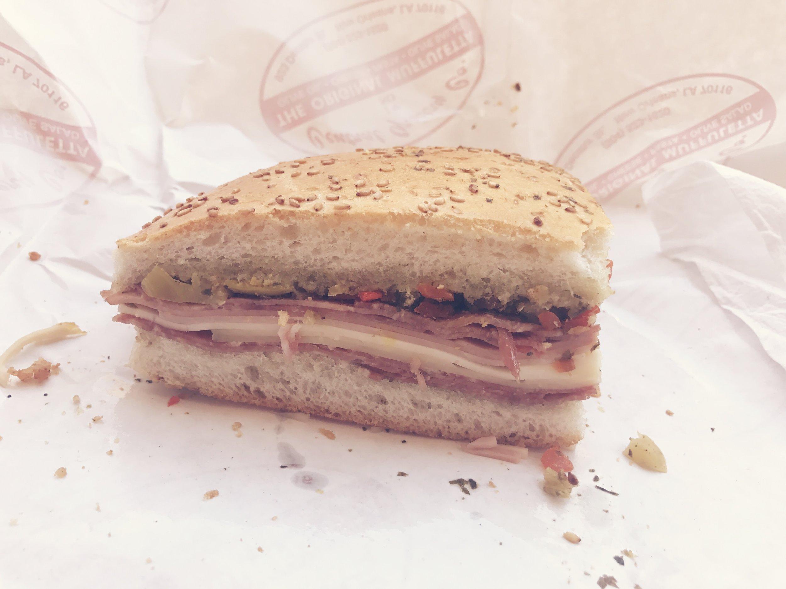 Courtney's muffuletta sandwich - the olives!