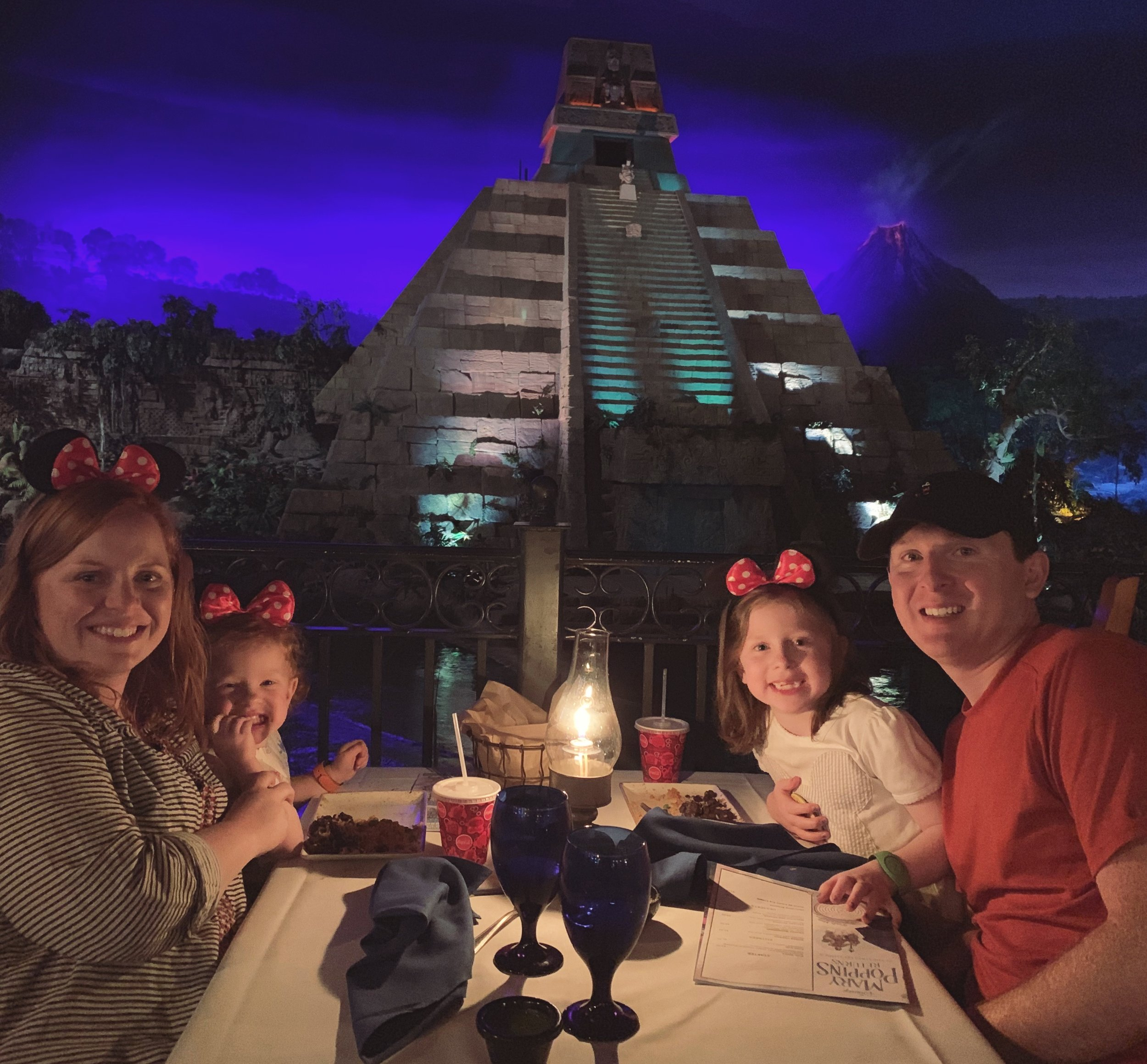 Courtney and Nathan with the girls at San Angel Inn Restaurante at Epcot!