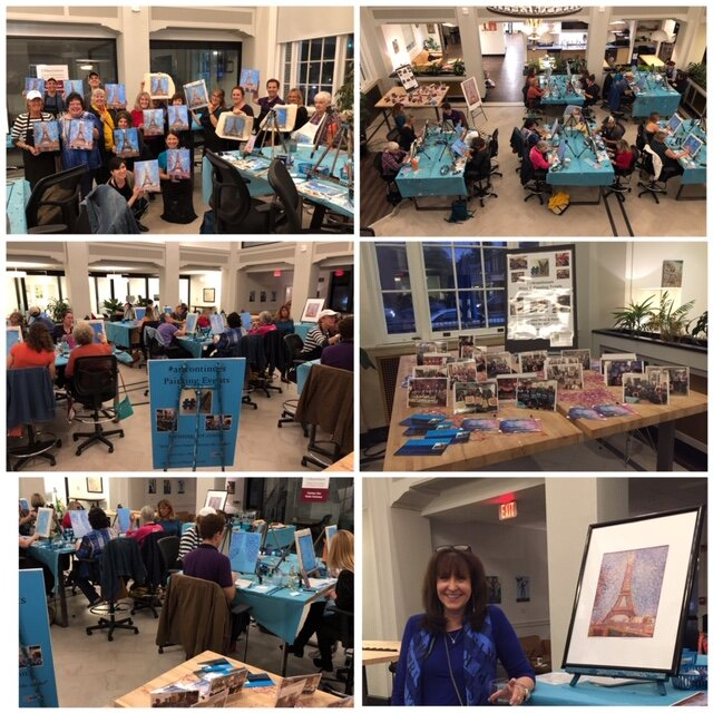 """on Wed.,October 2nd, 2019, We celebrated our 6 year Wine & Painting Anniversary with a group of fabulous painters and Seurat!""""Who doesn't love Paris?"""" -"""