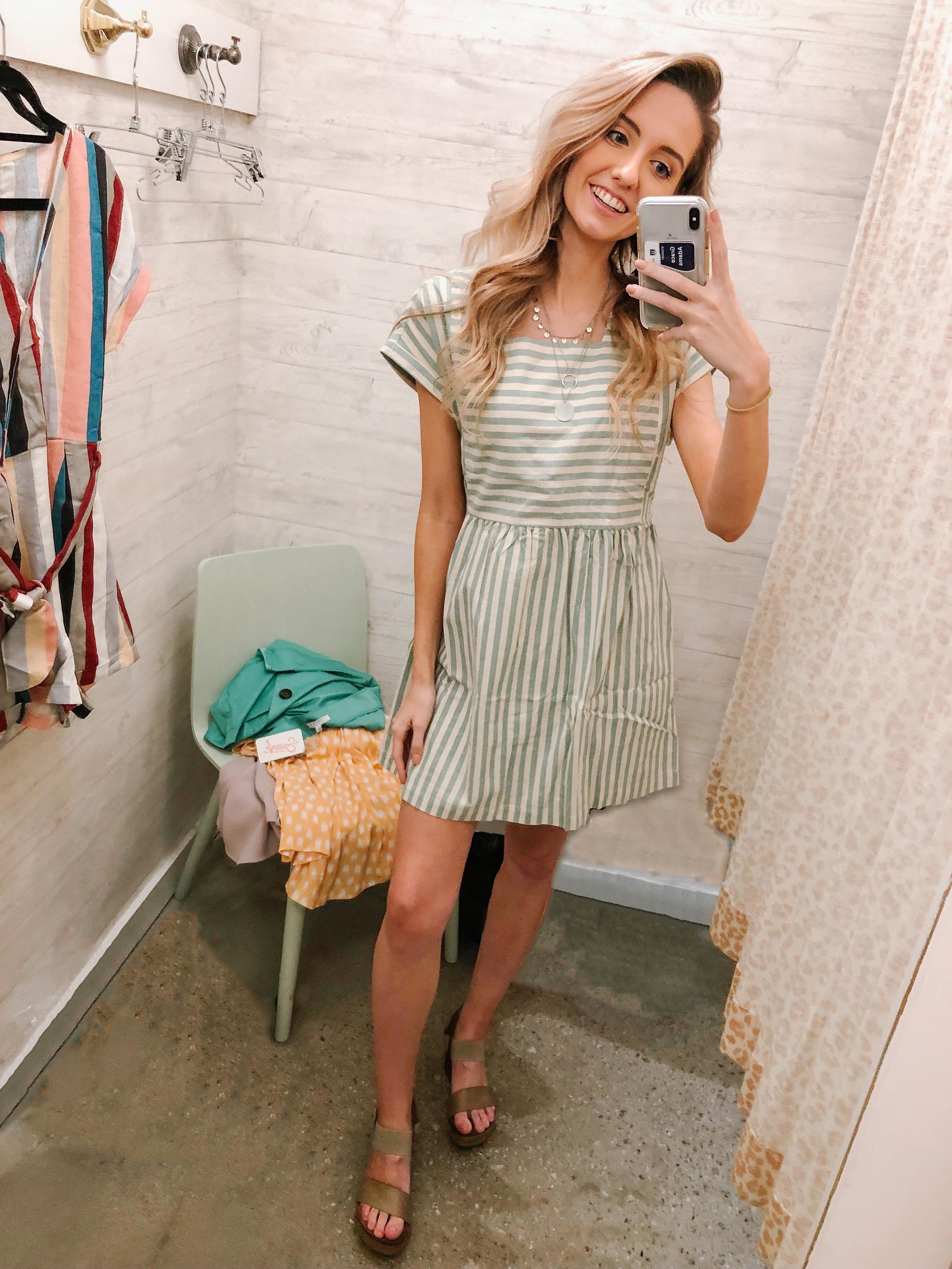 Striped Boxy Babydoll Dress $36