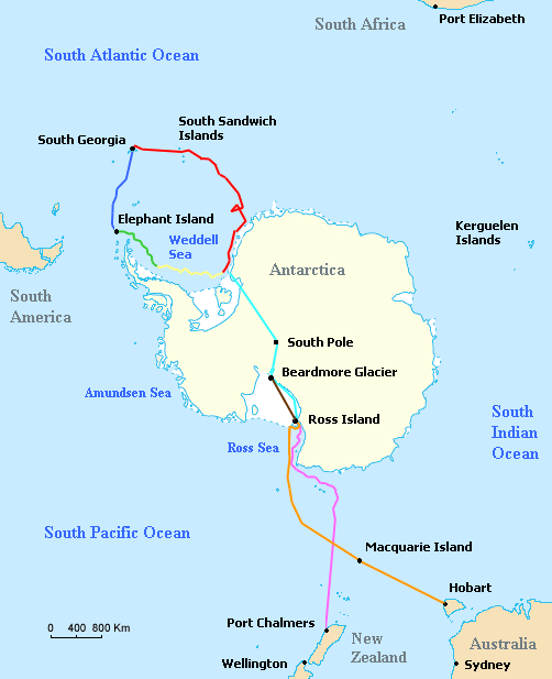 Map of the routes of the ships Endurance and Aurora, the support team route, and the planned trans-Antarctic route of the British Imperial Trans-Antarctic Expedition led by Ernest Shackleton in 1914–15.  Red = Voyage of Endurance  Yellow =  Drift of Endurance in pack ice  Green = Sea ice drift after Endurance sinks  Dark  Blue = Voyage of the lifeboat James Caird  Light Blue =  Planned trans-Antarctic route  Orange = Voyage of Aurora to Antarctica  Pink = Retreat of Aurora  Brown = Supply depot route  Text and image from:  https://commons.wikimedia.org/wiki/File:Shackleton_Endurance_Aurora_map2.png
