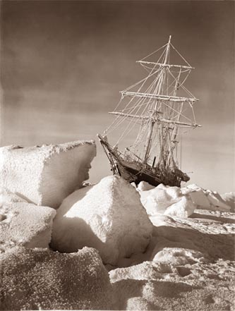 The Endurance trapped in ice  Image from:  https://en.wikipedia.org/wiki/Endurance_(1912_ship)#/media/File:Endurance3.jpg
