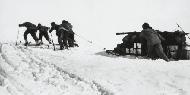 Scott's south polar expedition manhauling supplies   Image from:  https://www.huffingtonpost.com.au/2017/10/04/a-century-on-the-death-of-this-antarctic-explorer-remains-a-mystery_a_23233222/