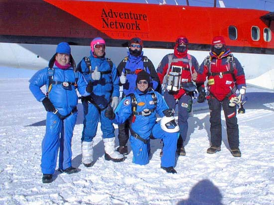 The 1997 south pole skydiving team pre jump.  Image from:  http://www.southpolestation.com/trivia/90s/skydive.html