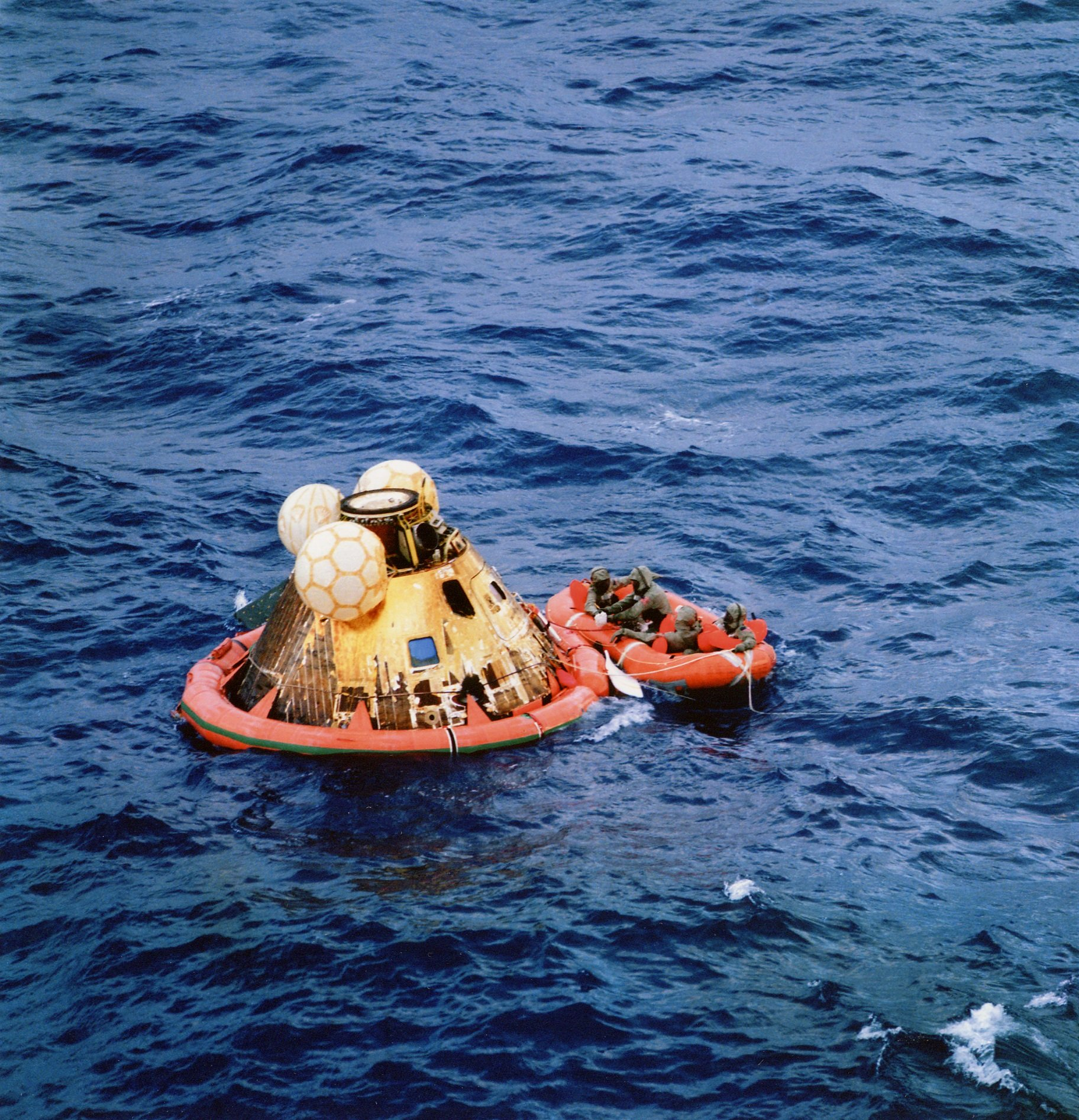 The Apollo 11 crew await pickup by the USS Hornet in the Pacific Ocean    July 24th, 1969   Image credit: NASA
