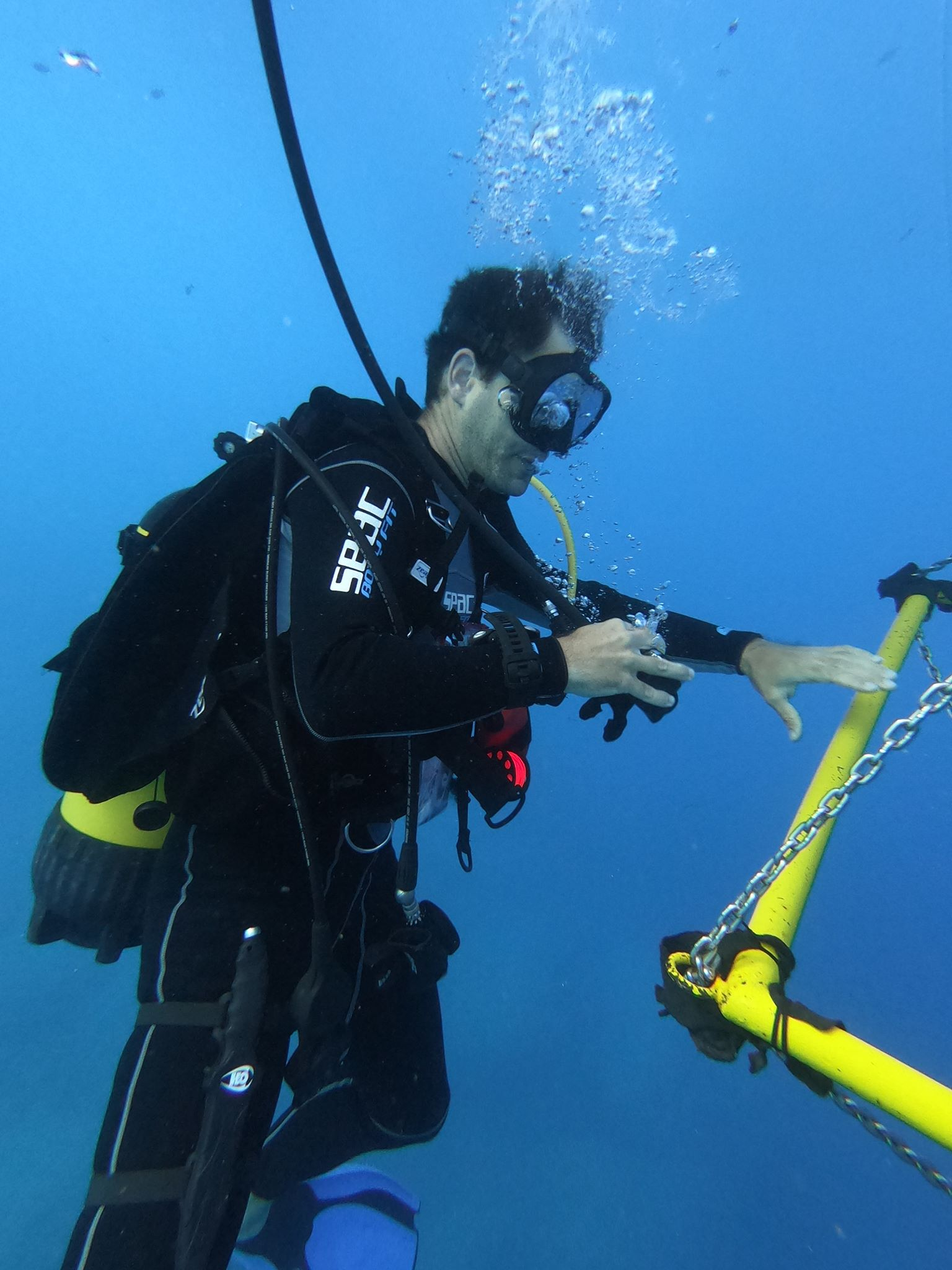 Dr. Dana Levin at the Oxygen decompression station beneath the Virazon II research Vessel.