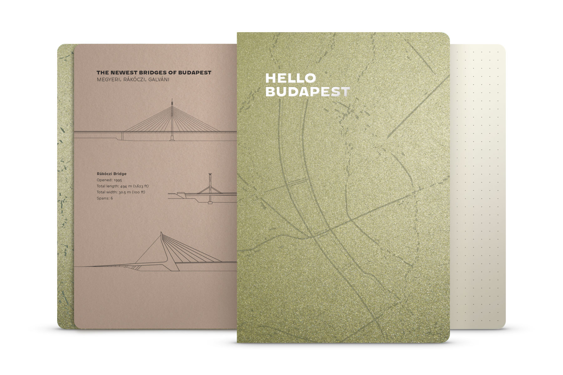 Hello Budapest eco-design notebook - Olive Deluxe Edition | NOTESS
