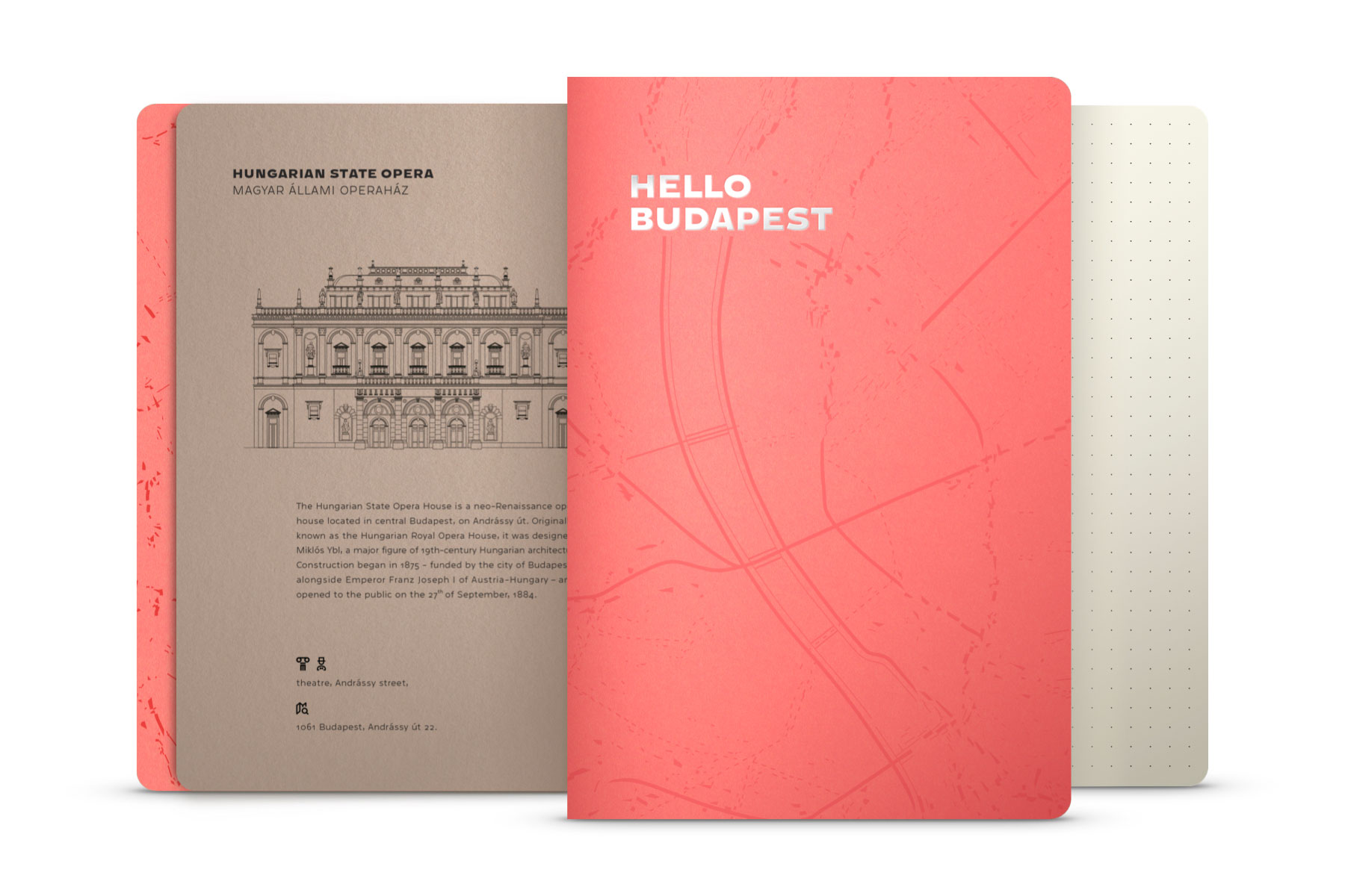 Hello Budapest eco-design notebook - Coral Edition | NOTESS