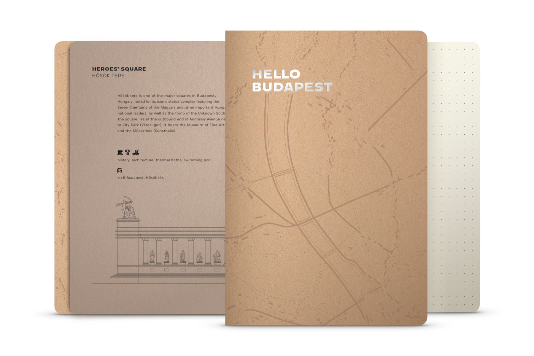 Hello Budapest eco-design notebook - Recycled Brown Edition