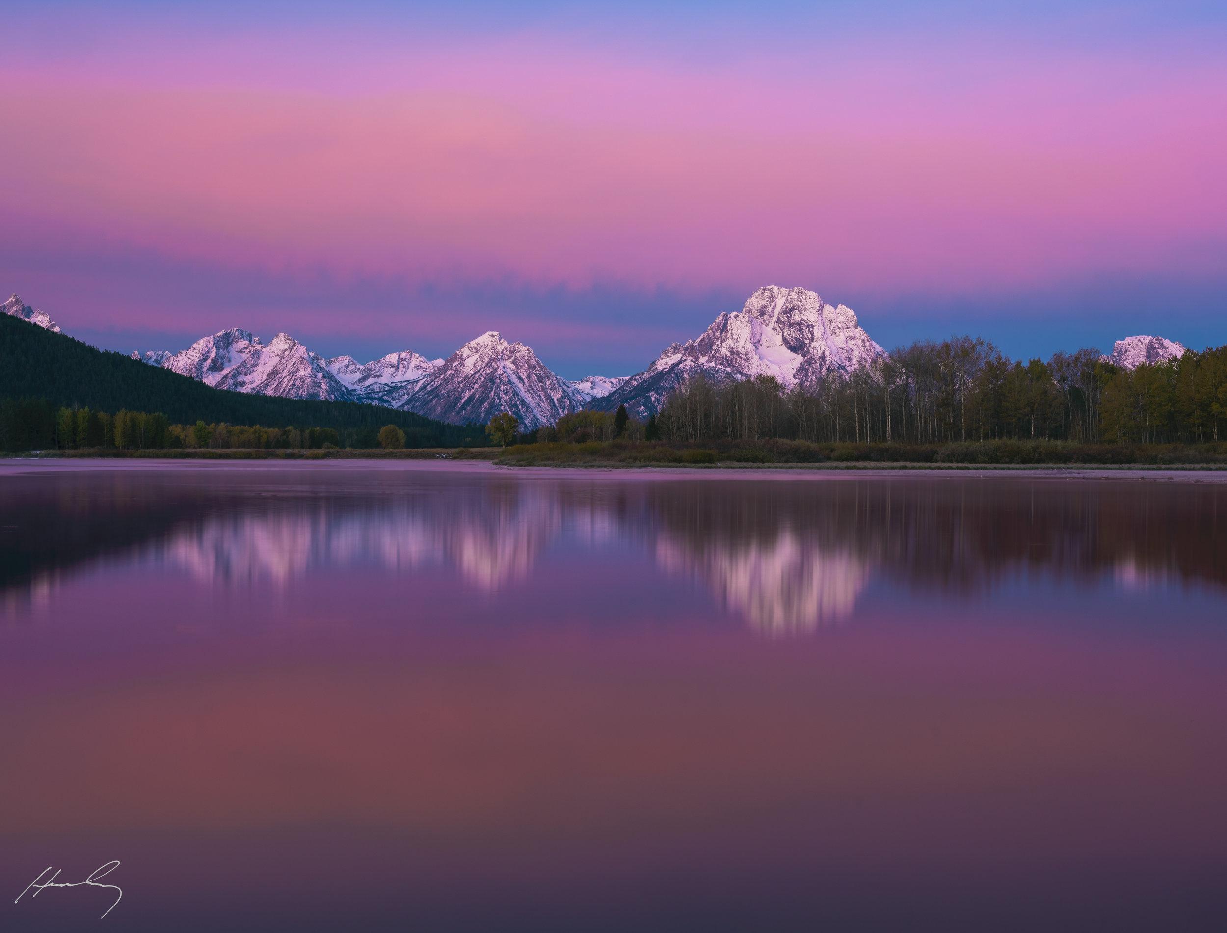 """Red Dawn"" Grand Teton N.P., Oxbow Bend, Wyoming"