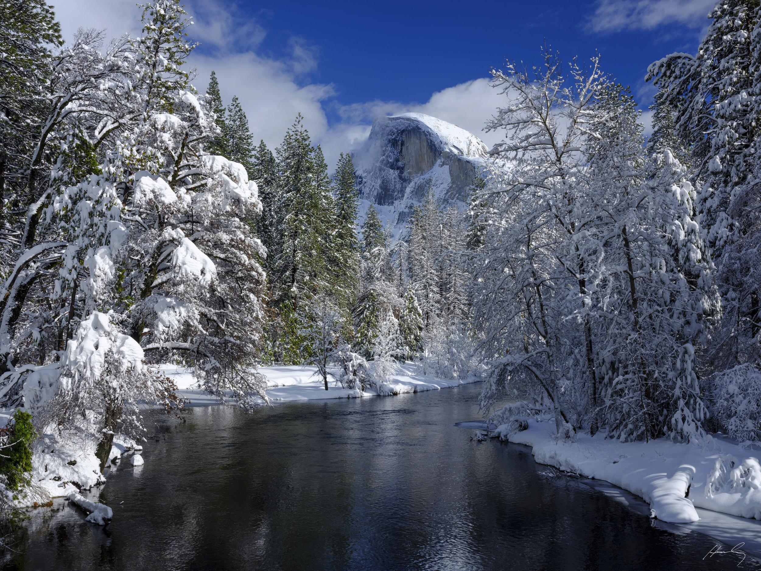 """Half Dome from Merced River-Am"" Yosemite N.P., California"